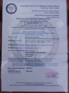 Certyfikat do kontaktu z żywnością